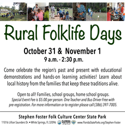 Rural Folklife Days |  October 31st -November 1st | 9am-3pm |  $5/person